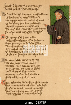 Geoffrey Chaucer (c1345-1401) English poet. Portrait from an early 15th century manuscript of the poem 'De Regimine - Stock Photo