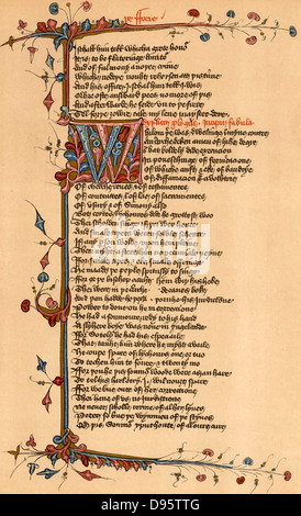 Geoffrey Chaucer (c1345-1401) English poet. Page of the Lansdowne manuscript of his 'Canterbury Tales' relating - Stock Photo