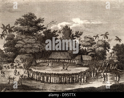 The Reception of Captain Cook in Hapaee'. Ceremonial reception of James Cook (1728-1779) British navigator, explorer - Stock Photo