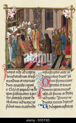 Alexander I of Poland (Alexander Jagellon 1461-1501): Coronation of Alexander at Cracow (1501) by Archbishop Gnesen. - Stock Photo