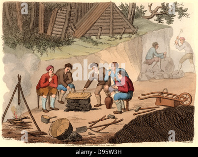 The Quarryman of Grisante'.  The stone quarry workers (miners) are enjoying a meal of polenta and wine.  The polenta - Stock Photo