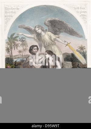 Angel with flaming sword supervises the expulsion of Adam and Eve, wearing aprons of fig leaves from the Garden - Stock Photo