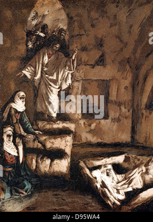 Jesus raising Lazarus from the tomb. Illustration by JJ Tissot for his 'Life of Our Saviour Jesus Christ' 1897. - Stock Photo