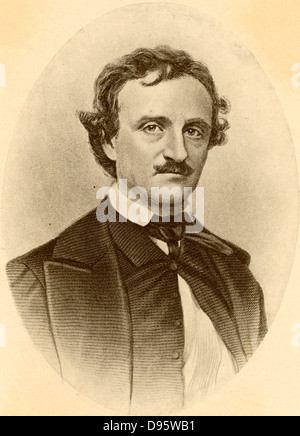 Edgar Allan Poe (1809-1849) American story writer and poet, born at Boston, Massachusetts. Author of Gothick stories - Stock Photo