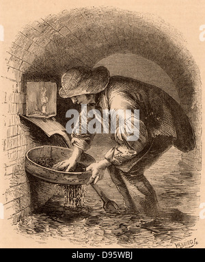 The Sewer Hunter. This man eked out a living by hunting in the sewers for anything he could sell, such as a lost - Stock Photo