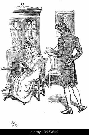 Jane Austen 'Persuasion'. Austen's last novel published 1818. Anne Elliot complimented by her cousin William Elliot - Stock Photo