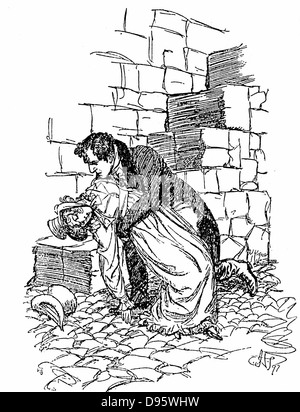 Jane Austen 'Persuasion'. Austen's last novel published 1818. Louisa Musgrove falls from Cobb at Lyme Regis and - Stock Photo