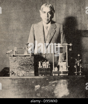Jagadis Chandra Bose (1858-1937) Indian botanist and physicist, demonstrating electrical changes in plant stems - Stock Photo