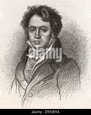 Ludwig van Beethoven (1770-1827) German composer, a bridge between the Classical and Romantic styles. Engraving. - Stock Photo