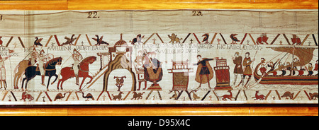 Harold II (c1022-1066) last Anglo-Saxon king of England 1066 on visit to Normandy 1064, swearing oath of loyalty - Stock Photo
