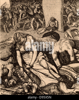 Boudicca (Boadicea) lst century British queen of the Iceni after her defeat.   Overwhelmed by the Romans under Suetonius, - Stock Photo