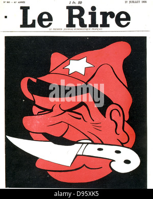 The man with a knife between his teeth'. Anti-Stalin cartoon from 'Le Rire',   Paris, 27 July 1935. - Stock Photo