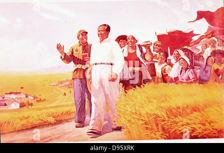 Chinese propaganda poster showing Mao Tse-Tung (Mao Zedong), Chinese Communist leader, with peasants during the - Stock Photo