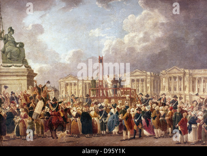 An Execution by Guillotine in Paris during the French Revolution. Pierre Antoine De Machy (c1722-1807) French painter. - Stock Photo