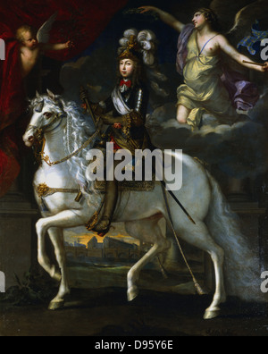 Louis XIV (1638-1715) King of France from 1643.  Equestrian portrait of Louis as a boy (1648). - Stock Photo