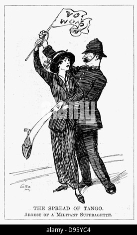 Votes for Women. A somewhat embarrassed British policeman experienceing difficulty in arressting a militant suffragette. - Stock Photo