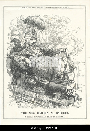 Wilhelm II, Emperor of Germany, dreaming of a German rail link to Baghdad and oil. Cartoon by Leonard Raven-Hill - Stock Photo
