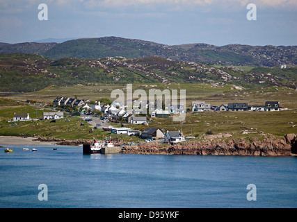 Caledonian MacBrayne car and passenger ferry MV Loch Buie moored at the pier in Fionnphort on the Isle of Mull Scotland - Stock Photo