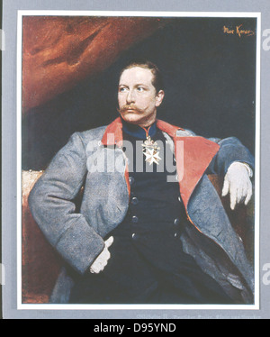 Wilhelm II (1859-1941) Emperor of Germany from 1888-1919.  After the portrait by Koner, National Gallery, Berlin. - Stock Photo