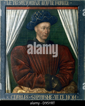 Charles VII (1403-1461) king of France from 1422. Portrait by Jean Fouquet (1403-1461) - Stock Photo