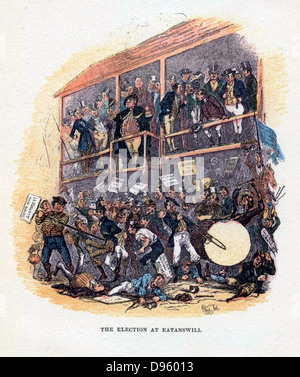 The Election at Eatanswill' an illustration by 'Phiz' (Hablot Knight Browne 1815-1882) for 'Posthumous Papers of - Stock Photo
