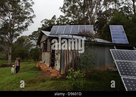 Stables with extensive solar panels, New South Wales, Australia - Stock Photo