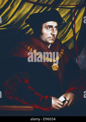 Thomas More (1478-1535)  English statesman, scholar and saint. Portrait by Hans Holbein (c1497-1543) of More as - Stock Photo