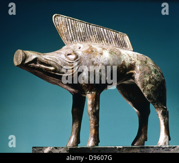 Celtic Art: Bronze boar from Sanctuary of Newy (Loiret). Musee d'Orleans. - Stock Photo