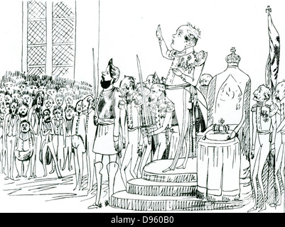 Frederick William IV (1795-1861), king of  of Prussia from 1840. Cartoon by Friedrich Engels showing Frederick William - Stock Photo