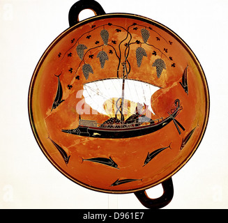 Dionysius, Greek god of wine) in sailing boat surrounded by dolphins Greek dish 530 BC - Stock Photo