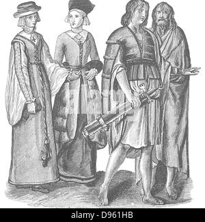 Irish men and women in the time of Elizabeth I. 16th century. - Stock Photo