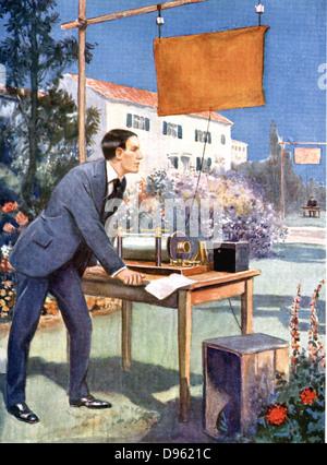 Guglielmo Marconi (1874-1937) Italian physicist and inventor and radio pioneer. Artist's impression of  Marconi - Stock Photo