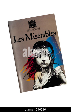 Programme for the 1985 production of Les Misérables at The Palace Theatre. - Stock Photo