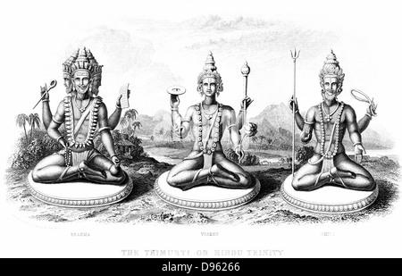 The Hindu Trinity (Trimurti): left to right; Brahma, Vishnu and Shiva. Engraving circa 1880. - Stock Photo