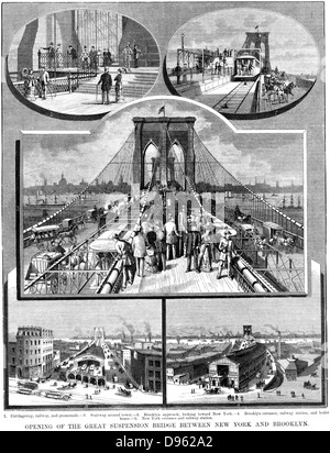 Brooklyn Suspension Bridge, New York: Designed and built by JA Roebling and his son WA Roebling, opened 1883. Wood - Stock Photo