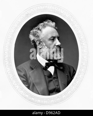 Jules Verne (1828-1905) French adventure and science fiction writer. Photograph published London  c1880.  Woodburytype. - Stock Photo