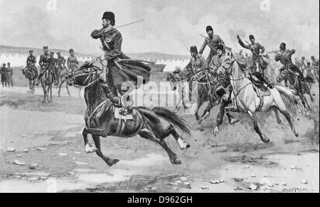 Russo-Japanese War 1904-1905:  Russian Cossacks at drill. - Stock Photo