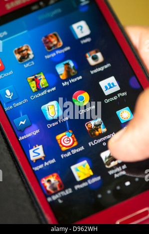 Close up of mobile phone apps screen - Stock Photo