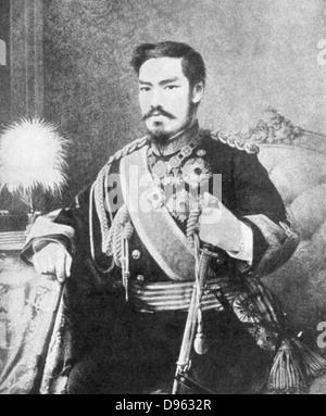 Mutsuhito (1852-1912) Emperor of Japan from 1867.  Photographing the Mikado (Emperor) was forbidden - Stock Photo