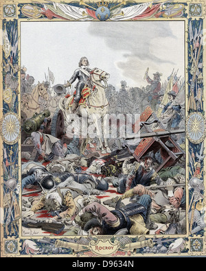 Thirty Years War: Battle of Rocroi (Rocroy), 19 May 1643, Spanish defeated by French under Duc d'Enghien, Prince - Stock Photo