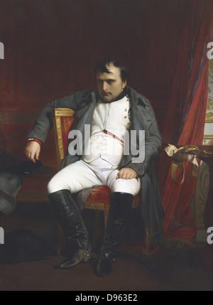 Napoleon at Fontainbleau During the First Abdication - April 1814'. Napoleon Bonaparte (1769-1821).  (Hippolyte) - Stock Photo