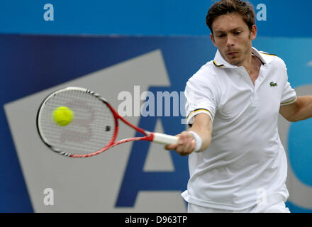 London, UK. 12th June 2013. Aegon Tennis Championships Queens Club London UK Nicolas Mahut FRA in first round match - Stock Photo