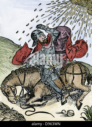 Conversion of St Paul on the road to Damascus. From Hartmann Schedel 'Liber chronicarum mundi' (Nuremberg Chronicle), - Stock Photo