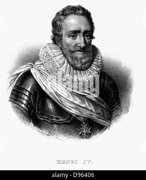 Henry IV (1553-1610) King of Navarre (1572) King of France 1589.  Lithograph c1820. - Stock Photo