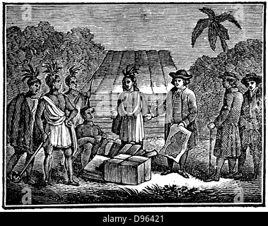 William Penn (1644-1718) English Quaker colonist, treating with Native Americans on the site of what is now Philadelphia. - Stock Photo