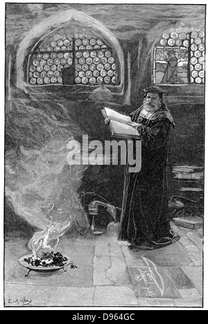 Dr Faustus conjuring up Mephistopheles. Faust formed the subject of dramas by Christopher Marlowe and Goethe. Goethe's - Stock Photo
