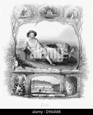 Johann Wolfgang von Goethe (1749-1832) German poet, dramatist and scientist. Steel engraving c1860. - Stock Photo