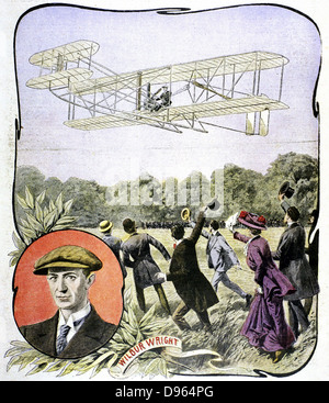 Wilbur Wright's (American aviator) first flight in Europe, at the Hanaudieres racetrack near Le Mans, France in - Stock Photo