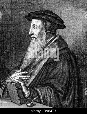 Jean Calvin (1509-1564) French theologian. Protestant reformer. He settled Geneva and was leading figure in the - Stock Photo