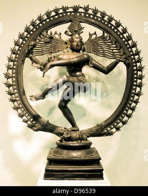 Hindu god Shiva (Siva). 16th century Chloa bronze representation of Shiva in the dance of creation. Indian. - Stock Photo